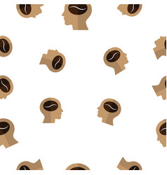 Seamless pattern with coffee bean on human head vector