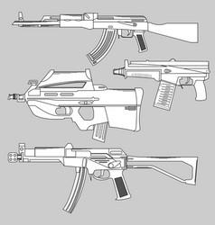 set automatic firearms pistol rifle machine vector image vector image
