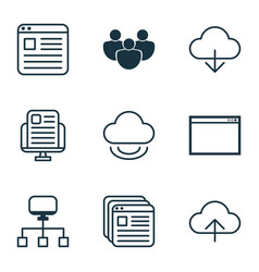 set of 9 online connection icons includes virtual vector image vector image