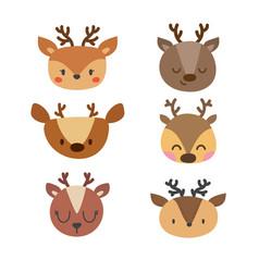 Set of cute deers funny doodle animals little vector