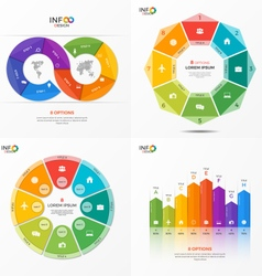Set of infographic templates with 8 options vector