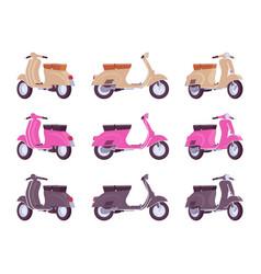 set of scooters in beige pink black colors vector image vector image