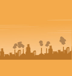 Silhouette industry pollution background vector