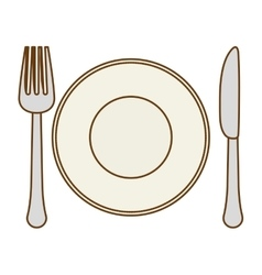 Silver fork knife and plate icon image vector