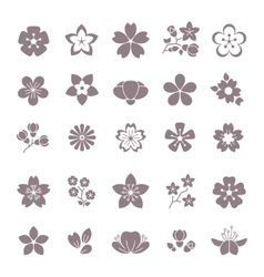 Simple flower floral graphic icons set vector