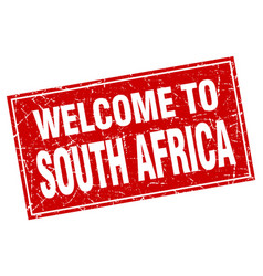 south africa red square grunge welcome to stamp vector image vector image