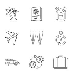 Tourism at sea icons set outline style vector image vector image