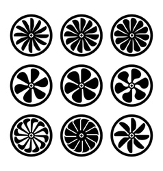 Turbines Icons Set Turbojet Engine Power vector image