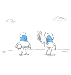Two abstract business men new creative idea vector
