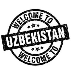 welcome to uzbekistan black stamp vector image vector image