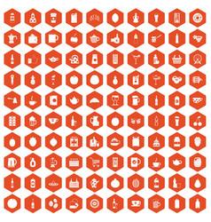 100 beverage icons hexagon orange vector