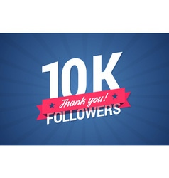 10000 followers with thank you on a ribbon vector image