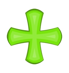 Green cross icon in cartoon style vector