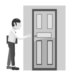 Businessman opens door icon gray monochrome style vector