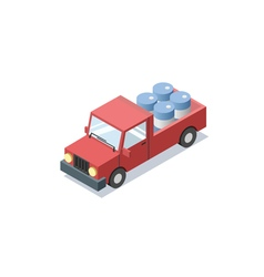 Isometric red wagon car with blue barrels minivan vector