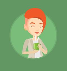 woman enjoying cup of coffee vector image