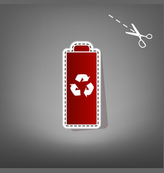 battery recycle sign   red vector image