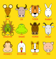 12 chinese zodiac icon set vector