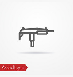 Compact submachine gun line icon vector