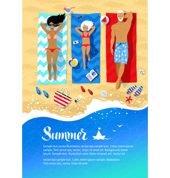 Summer flyer design with family lying on beach vector