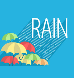 Rain background with stylish text and umbrellas vector