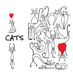 Cats collection sketch for your design vector
