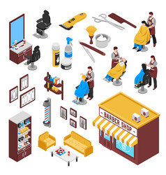 Isometric barbershop set vector