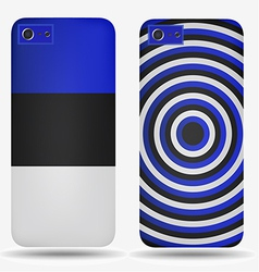 Rear covers smartphone with flags of estonia vector