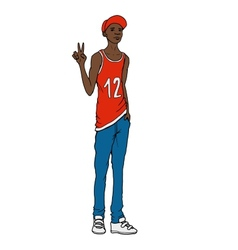 Black guy street art style vector