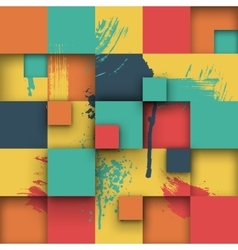 Abstract texture with squares and paint splashes vector