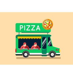 Pizza food truck city car food truck auto cafe vector