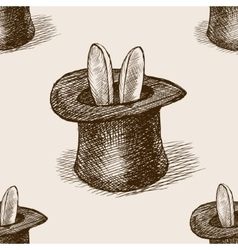 Magician hat sketch seamless pattern vector image