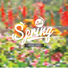 Spring sale design with floral blurred background vector