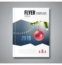 Merry christmas happy new year trendy brochure vector