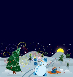 Snow man making firework banner vector
