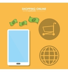 Smartphone bills and shopping cart shopping vector