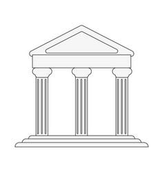 Ancient greek building on floating land icon image vector