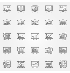 Business presentation with diagrams icons vector image