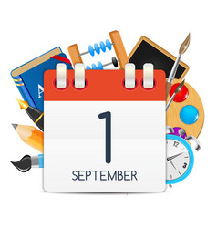 Calendar icon of 1 september vector