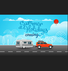 Car on the way summer holidays coming vector