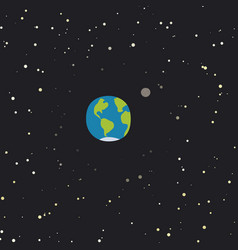 Cartoon planet earth with moon vector