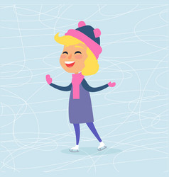 Cartoon smiling female person on icerink in winter vector