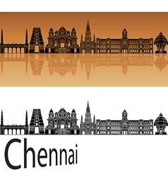 Chennai skyline in orange vector image