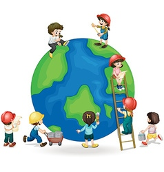 Children fixing and painting the globe vector image vector image