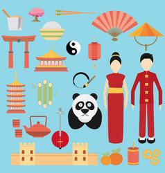 China flat icons design travel vector