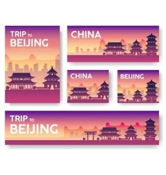 China landscape banners set design vector