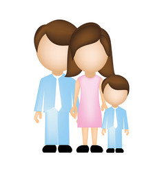 Color silhouette faceless with dad mom and son in vector