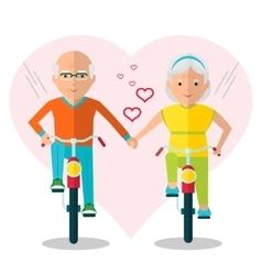 elderly couple on bicycles in love vector image vector image