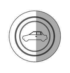 Figure round emblem side car icon vector
