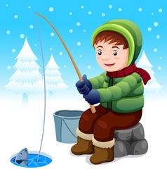 Fisherman in snow vector image vector image